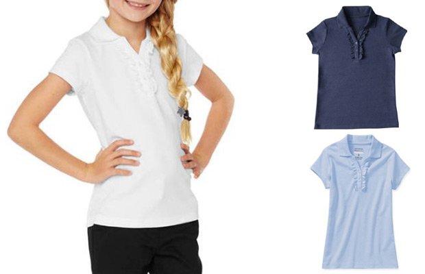 George Girls' School Uniforms, Short Sleeve Ruffle Polo Shirt