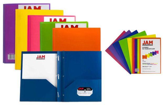 Walmart JAM Paper Eco Plastic Presentation Folders with Clasps, Assorted Colors, 6pk