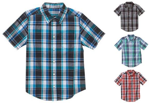 Wrangler Boys' Short Sleeve Woven Plaid Shirt