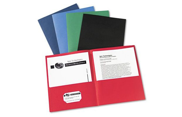 Walmart Avery Two-Pocket Folder, 40-Sheet Capacity, Assorted Colors, 25Box