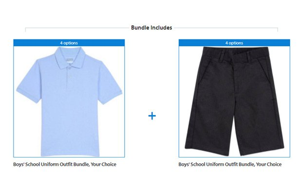 Walmart Boys' School Uniform Outfit Bundle, Your Choice of Tops, Bottoms