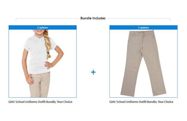 Walmart Girls' School Uniforms Outfit Bundle, Your Choice