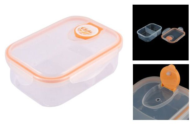 Walmart Plastic Dual Compartments Microwave Food Storage Lunch Box