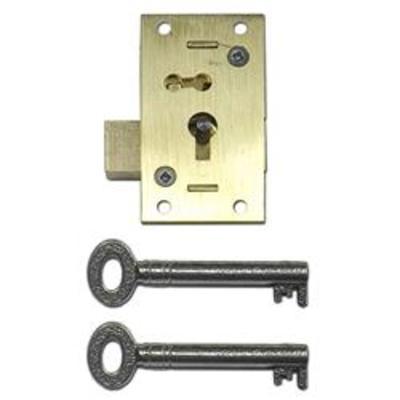 ASEC 51 2 & 4 Lever Straight Cupboard Lock - 4 Lever 50mm SB KA Visi