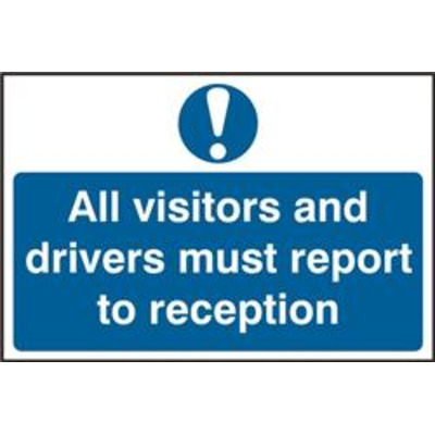 ASEC All Visitors and Drivers Must Report To Reception 200mm x 300mm PVC Self Adhesive Sign - 1 Per Sheet