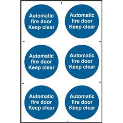 ASEC Automatic Fire Door Keep Clear 200mm x 300mm PVC Self Adhesive Sign - 6 Per Sheet