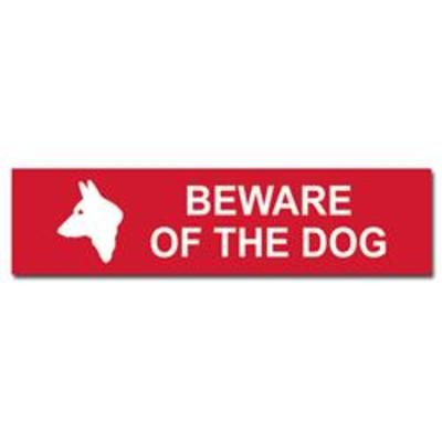 ASEC Beware of The Dog Sign 200mm x 50mm - 200mm x 50mm