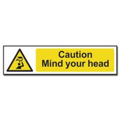 ASEC Caution- Mind Your Head Sign 200mm x 50mm - 200mm x 50mm