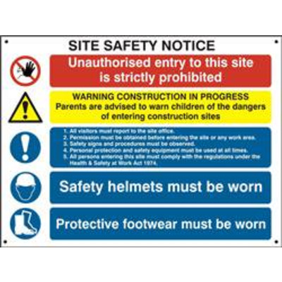 ASEC Composite Site Safety Poster 800mm x 600mm PVC Sign - Single Poster