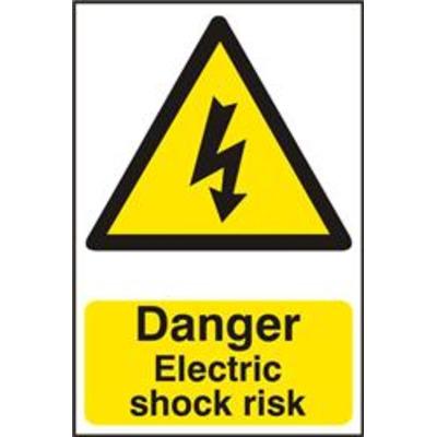 ASEC Danger Electric Shock Risk 200mm x 300mm PVC Self Adhesive Sign - 1 Per Sheet