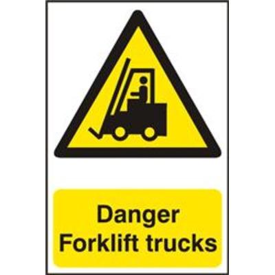 ASEC Danger Forklift Trucks 200mm x 300mm PVC Self Adhesive Sign - 1 Per Sheet