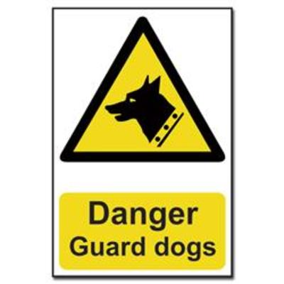 ASEC Danger- Guard Dogs Sign 200mm x 300mm - 200mm x 300mm