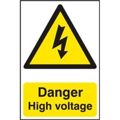 ASEC Danger High Voltage 200mm x 300mm PVC Self Adhesive Sign - 1 Per Sheet