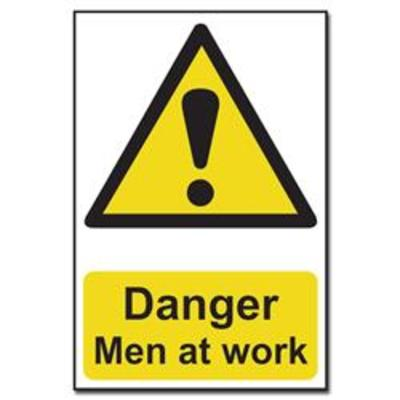 ASEC Danger- Men at Work Sign 200mm x 300mm - 200mm x 300mm