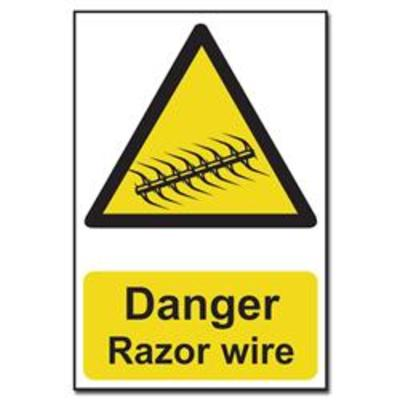 ASEC Danger- Razor Wire Sign 200mm x 300mm - 200mm x 300mm