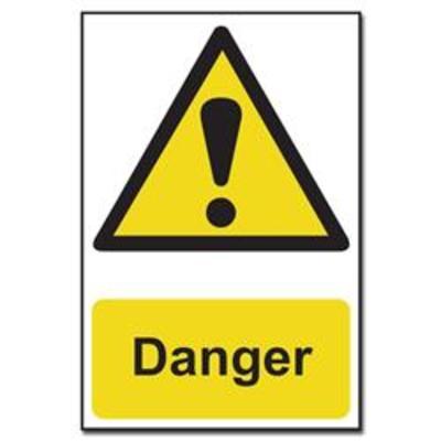 ASEC Danger Warning Sign PVC 200mm x 300mm - 200mm x 300mm