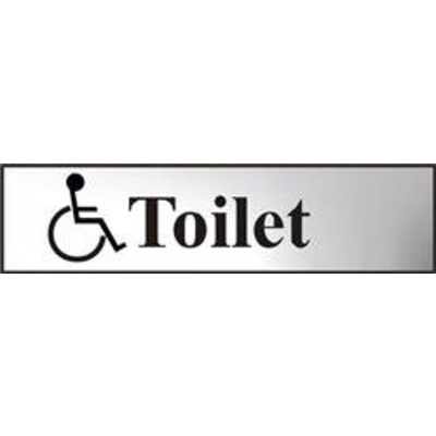 ASEC Disabled Toilet 200mm x 50mm Chrome Self Adhesive Sign - 1 Per Sheet