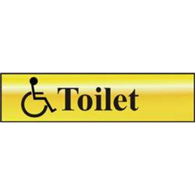 ASEC Disabled Toilet 200mm x 50mm Gold Self Adhesive Sign - 1 Per Sheet