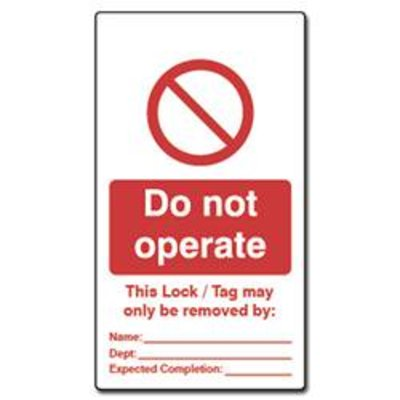 ASEC Double Sided Lockout Tagout Tags Do Not Operate - Pack of 10
