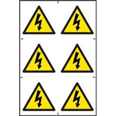 ASEC Electrical Warning Symbol 200mm x 300mm PVC Self Adhesive Sign - 6 Per Sheet