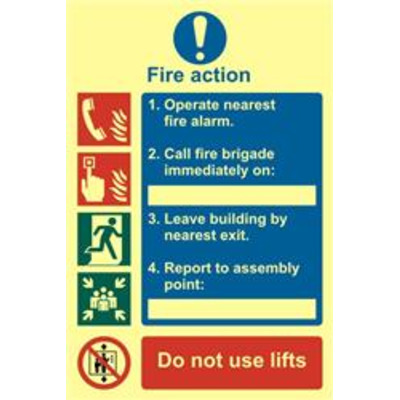 ASEC Fire Action Procedure 200mm x 300mm PVC Self Adhesive Photo luminescent Sign - 1 Per Sheet