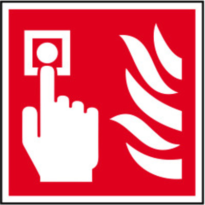 ASEC Fire Alarm Call Point Sign 100mm x 100mm - 100mm x 100mm