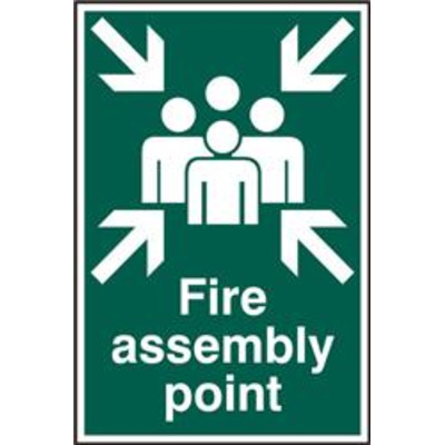 ASEC Fire Assembly Point 200mm x 300mm PVC Self Adhesive Sign - 1 Per Sheet