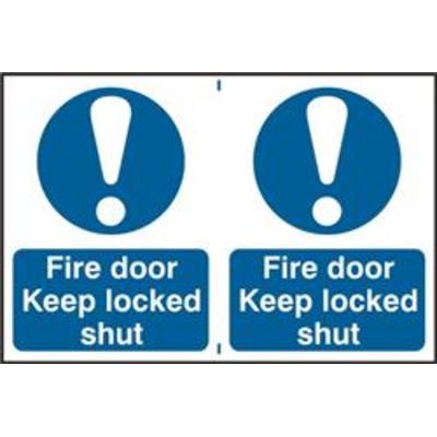 ASEC Fire Door Keep Locked Shut 200mm x 300mm PVC Self Adhesive Sign - 2 Per Sheet