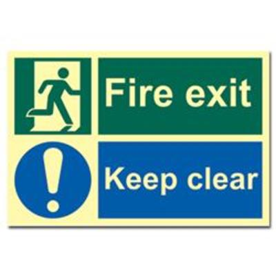ASEC Fire Escape Keep Clear Sign Photoluminescent 300mm x 200mm - 300mm x 200mm