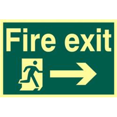 ASEC Fire Exit 200mm x 300mm PVC Self Adhesive Photo luminescent Sign - Right