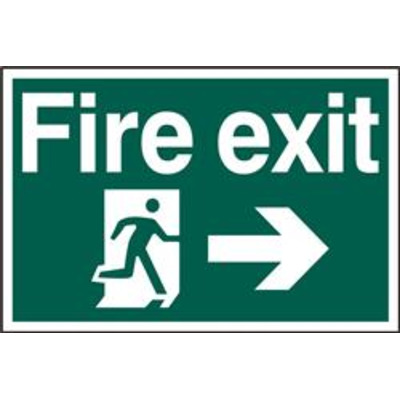 ASEC Fire Exit 400mm x 600mm PVC Self Adhesive Sign - Right