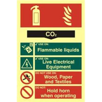 ASEC Fire Extinguisher 200mm x 300mm PVC Self Adhesive Photo luminescent Sign - CO2 From £17.87