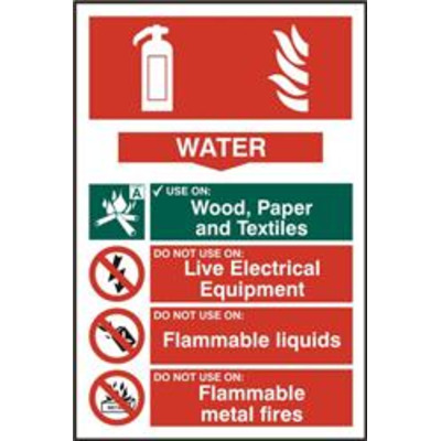 ASEC Fire Extinguisher 200mm x 300mm PVC Self Adhesive Sign - Water From £8.82