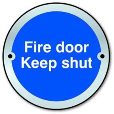 ASEC Fire door Keep shut Disc Sign 75mm - Satin Anodised Aluminium