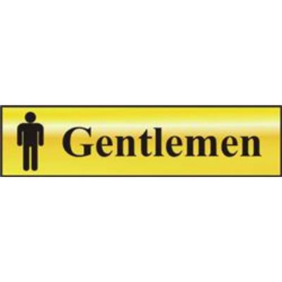 ASEC Gentlemen 200mm x 50mm Gold Self Adhesive Sign - 1 Per Sheet