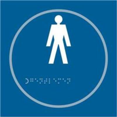 ASEC Gents 150mm x 150mm Taktyle (Braille) Self Adhesive Sign - 1 Per Sheet