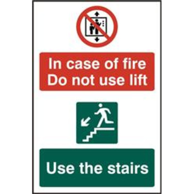 ASEC In Case Of Fire Do Not Use Lift 200mm x 300mm PVC Self Adhesive Sign - 1 Per Sheet