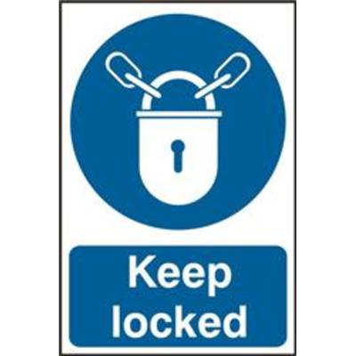 ASEC Keep Locked 200mm x 300mm PVC Self Adhesive Sign - 1 Per Sheet