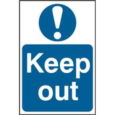 ASEC Keep Out 200mm x 300mm PVC Self Adhesive Sign - 1 Per Sheet