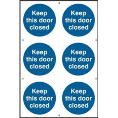 ASEC Keep This Door Closed 200mm x 300mm PVC Self Adhesive Sign - 6 Per Sheet