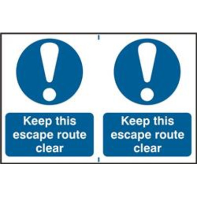 ASEC Keep This Escape Route Clear 200mm x 150mm PVC Self Adhesive Sign - 2 Per Sheet