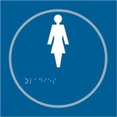 ASEC Ladies 150mm x 150mm Taktyle (Braille) Self Adhesive Sign - 1 Per Sheet