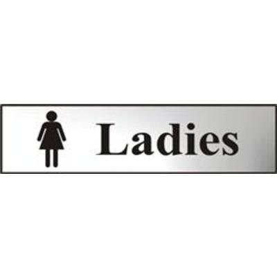 ASEC Ladies 200mm x 50mm Chrome Self Adhesive Sign - 1 Per Sheet