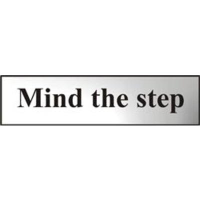 ASEC Mind The Step 200mm x 50mm Chrome Self Adhesive Sign - 1 Per Sheet