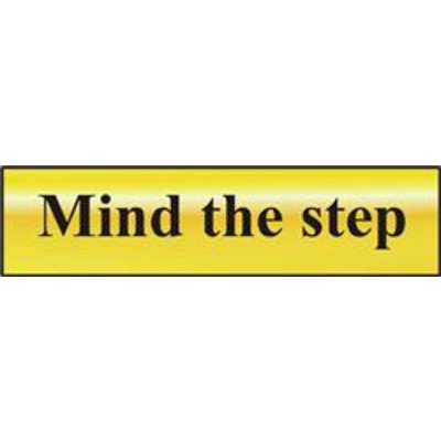 ASEC Mind The Step 200mm x 50mm Gold Self Adhesive Sign - 1 Per Sheet