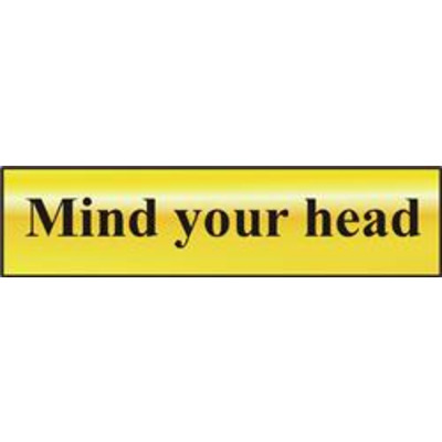 ASEC Mind Your Head 200mm x 50mm Gold Self Adhesive Sign - 1 Per Sheet