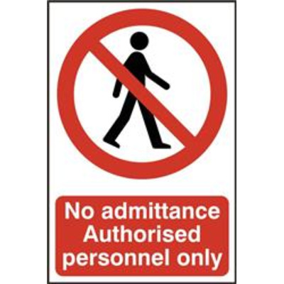 ASEC No Admittance Authorised Personnel Only 200mm x 300mm PVC Self Adhesive Sign - 1 Per Sheet
