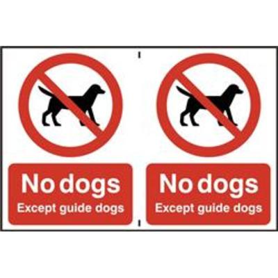 ASEC No Dogs 200mm x 300mm PVC Self Adhesive Sign - 2 Per Sheet