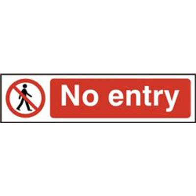 ASEC No Entry 200mm x 50mm PVC Self Adhesive Sign - 1 Per Sheet