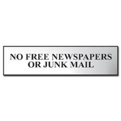 ASEC No Free Newspapers or Junk Mail 200mm x 50mm Metal Strip Self Adhesive Sign Chrome - Chrome Effect